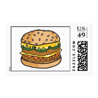 retro cheese hamburger postage