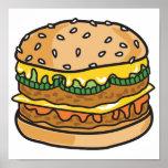retro cheese hamburger print