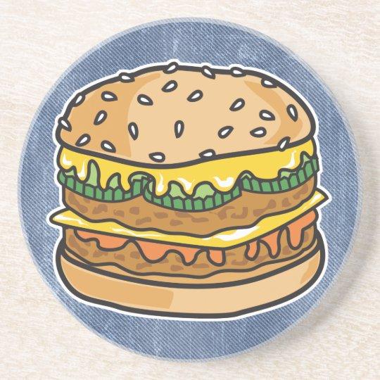 retro cheese hamburger sandstone coaster