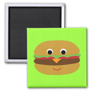 Retro Cheeseburger 2 Inch Square Magnet