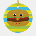 Retro Cheeseburger Ceramic Ornament