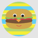 Retro Cheeseburger Classic Round Sticker