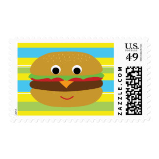 Retro Cheeseburger Stamps