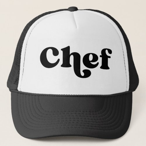 Retro Chef Black and White Trucker Hat