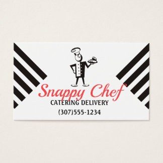 Retro chef meal delivery catering business card