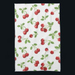 "Retro Cherries Kitchen Towel<br><div class=""desc"">Nostalgic design featuring ripe red graphic cherries and green leaves against a white background.</div>"