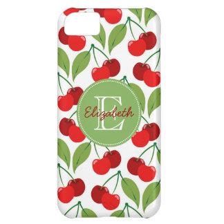 Retro Cherries Monogrammed iPhone 5C Cases