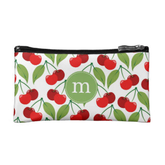 Retro Cherries Monogrammed Makeup Bag