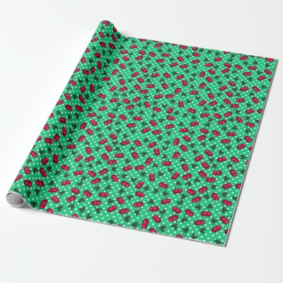 Retro Cherries on  Spring GreePolka Dot Background Wrapping Paper