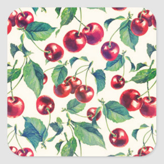 Retro cherries pattern on yellow base. square sticker