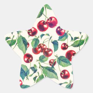 Retro cherries pattern on yellow base. star sticker