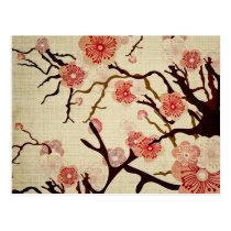Retro Cherry Blossom Postcard