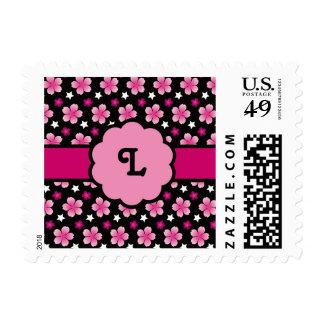 Retro Cherry Blossoms Sakura Pattern Pink Black Postage