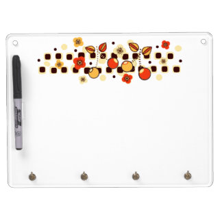 Retro Cherry Checkers Dry Erase Board With Keychain Holder
