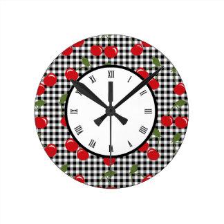 Retro Cherry Gingham Round Wall Clocks