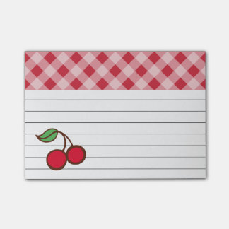 Retro Cherry Gingham Post It Notes Post-it® Notes