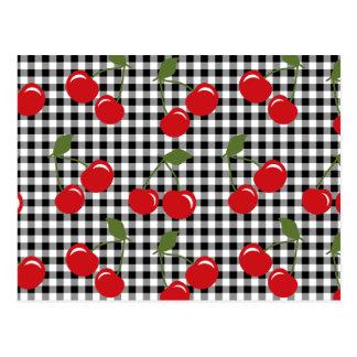 Retro Cherry Gingham Recipe Card