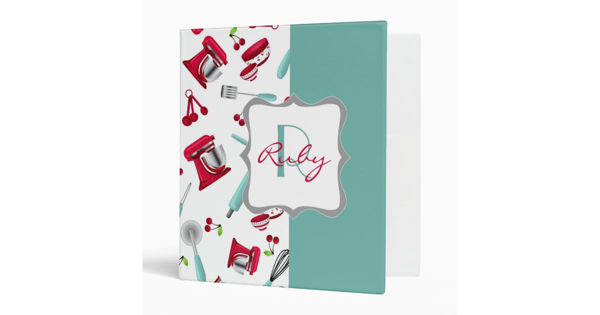 Retro Cherry Kitchen Gadgets Personalized Monogram 3 Ring Binder Zazzle
