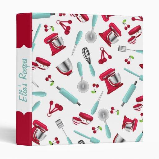 Retro Cherry Kitchen Gadgets Personalized Recipe 3 Ring Binders Zazzle