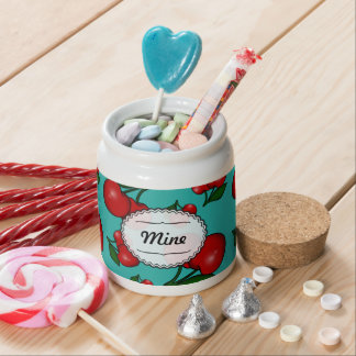 Retro Cherry Pattern on Teal Candy Jar