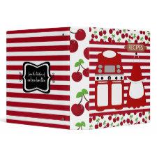 Retro Cherry Striped Recipe Binder binder