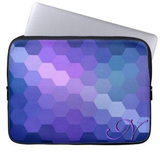 Retro Chevron Hexagon Pattern and Monogram 3 Laptop Sleeve