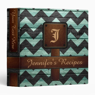Retro Chevron Monogram Recipe #11 3 Ring Binder