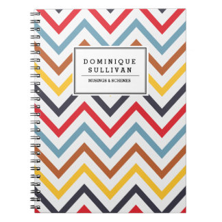 Retro Chevron Pattern Personalized Notebook