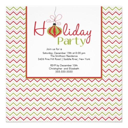 Retro Chevron Red & Green Holiday Party Invitation