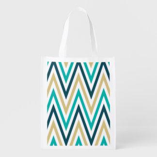 Retro Chevron Zig Zag Stripes Pattern Grocery Bags