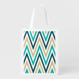 Retro Chevron Zig Zag Stripes Pattern Reusable Grocery Bag