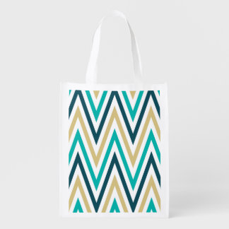 Retro Chevron Zig Zag Stripes Pattern Reusable Grocery Bag