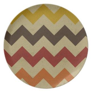 Retro chevron zigzag stripes zig zag pattern chic melamine plate