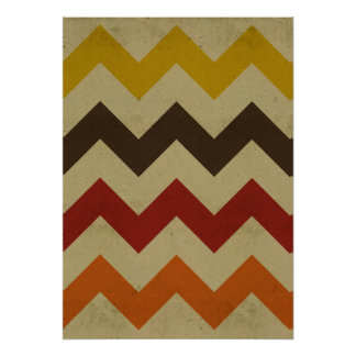 Retro chevron zigzag stripes zig zag pattern poster