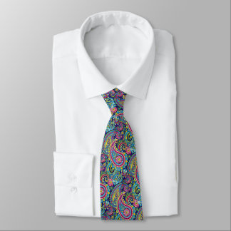 Retro Chic Bright Colorful Paisley Floral Pattern Neck Tie