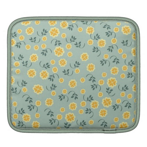 Retro chic buttercup floral flower girly pattern sleeves for iPads