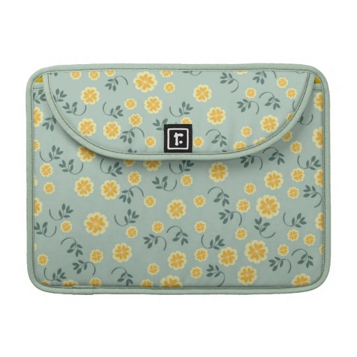 Retro chic buttercup floral flower girly pattern MacBook pro sleeve