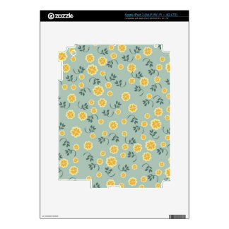 Retro chic buttercup floral flower girly pattern iPad 3 skins
