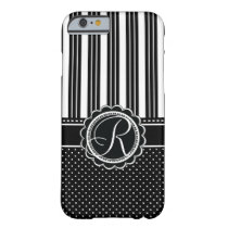 Retro Chic Custom Monogram Elegant Black and White Barely There iPhone 6 Case