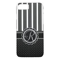 Retro Chic Custom Monogram Elegant Black and White iPhone 7 Case