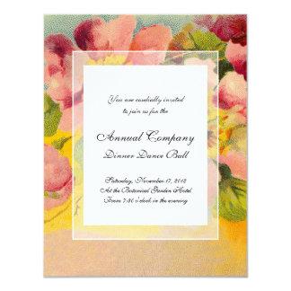 Retro Chic Elegant Pink Vintage Floral Primroses 4.25x5.5 Paper Invitation Card