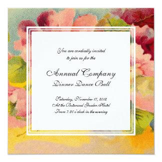 Retro Chic Elegant Pink Vintage Floral Primroses Invitation