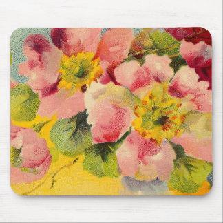Retro Chic Elegant Pink Vintage Floral Primroses Mouse Pad