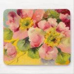 Retro Chic Elegant Pink Vintage Floral Primroses Mousepads
