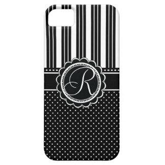Retro Chic Monogram R Elegant Black and White iPhone 5 Cases