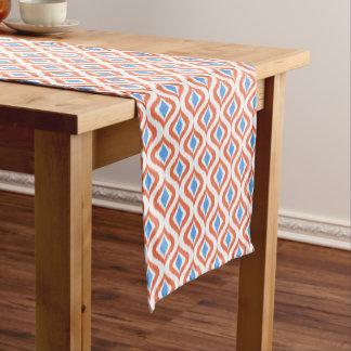 Retro Chic Orange Blue Ikat Drops Pattern Medium Table Runner