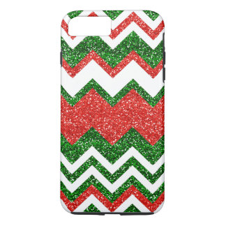 Retro Chic Red Green Zigzag Chevron Stripe Pattern iPhone 8 Plus/7 Plus Case