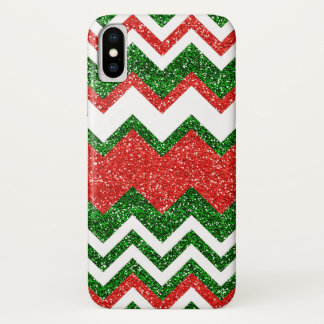 Retro Chic Red Green Zigzag Chevron Stripe Pattern iPhone X Case