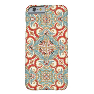 Retro Chic Red Teal Pretty Floral Mosaic Pattern Barely There iPhone 6 Case