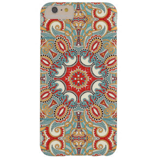 Retro Chic Red Teal Pretty Floral Mosaic Pattern Barely There iPhone 6 Plus Case